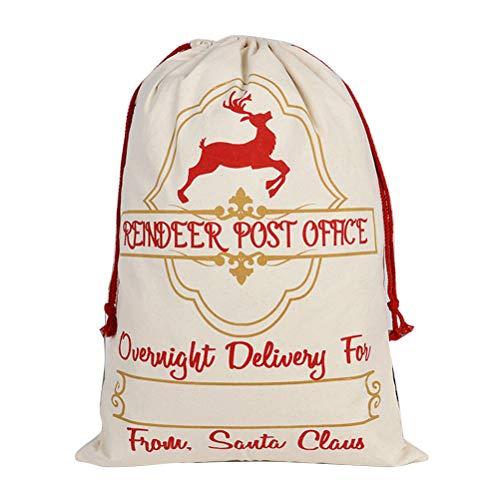 SANTITY Kerstmis Gift Bag Kerst Goody Tassen Geschenkverpakking Canvas Bag Gift Bag Katoen Tuniek Pocket Meerdere gebruik Trekkoord Tas D