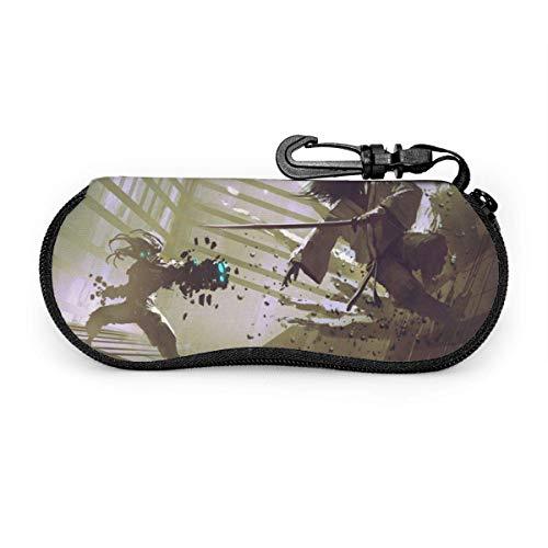 Estilo pintado Ninja VS Maquinaria Gafas de sol Caso Suave Funda de Neopreno Portátil Cremallera Gancho