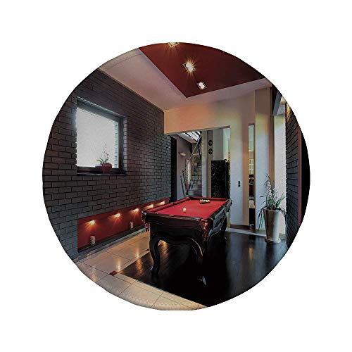 Rutschfreies Gummi-Rundmaus-Pad modernes Dekor Haus mit Snooker-Tisch Hobby-Pool-Spiel Flachmöbel Freizeitdruck Rotbraun Weiß 7,87 'x 7,87' x3 mm