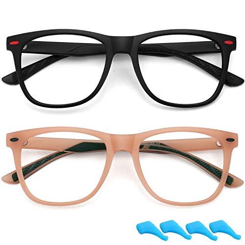 Gafas de bloqueo de luz azul para niños y niñas ligeras TR para juegos de computadora Gafas marco anti fatiga ocular 2 unidades (negro mate+naranja)