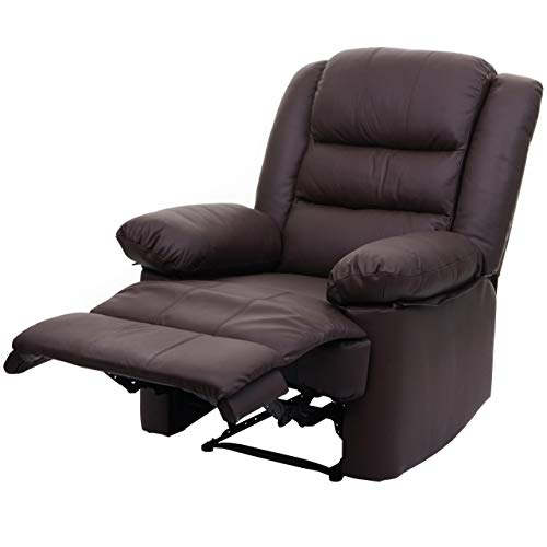 Mendler Fernsehsessel HWC-G15, Relaxsessel Liege Sessel, Leder + Kunstleder 103x83x91cm - braun