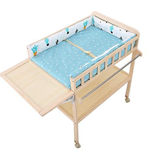 SSZY Cambiador Bebé Organizador de Madera para Cambiar Pañales con Tapete y Almacenamiento, Moderna Estación de Pañales Móvil para Bebés/Bebés Recién Nacidos Niños Niñas (Color : Blue)