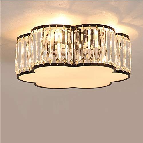 Moderno K9 Crystal Plafoniera Lussuoso Cristallo Lampada da soffitto Tondo Fiore Design Lampadario per Camera da letto Salotto Cucina Sala da pranzo Sala studio Illuminazione, Nero