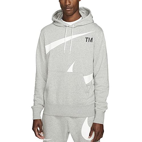 NIKE M NSW Swoosh PO SBB Hoodie Sweatshirt, dk Grey Heather/White, XL Mens