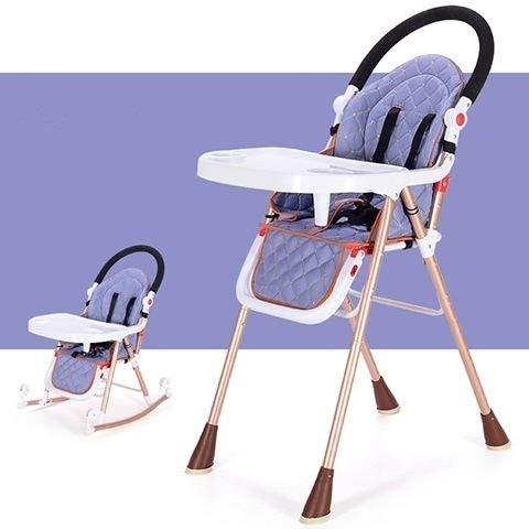 HMG 3 en 1 portátil Trona for bebé Mesa de Comedor Asiento Plegable de múltiples Funciones de la Silla de oscilación del bebé Ajustable (Azul) (Color : Blue)