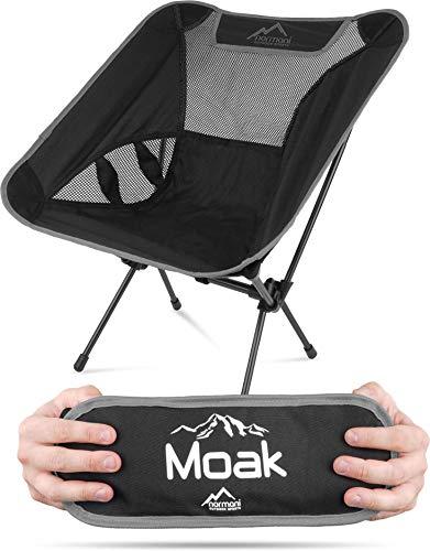 normani Ultraleichter Mini Campingstuhl MOAK 796 g! klappbarer Strandstuhl Anglerstuhl mit Aluminiumgestell - Stabiler Outdoorstuhl - Traglast: 135 Kg (330 lbs) Farbe Grau