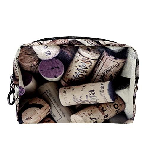 Estuche cosméticos Viaje portátil Organizador Bolsas Maquillaje Botella de Vino corchos Cremallera Bolsillo Grande Almacenamiento