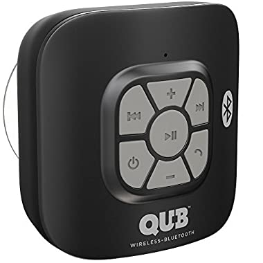 Gideon AquaAudio Cubo – Portable Waterproof Bluetooth Speaker with Suction Cup for Showers, Car, etc. - Pairs with All Bluetooth Devices + Siri Compatible - 10 hours Playtime/Built-in Mic (Black)