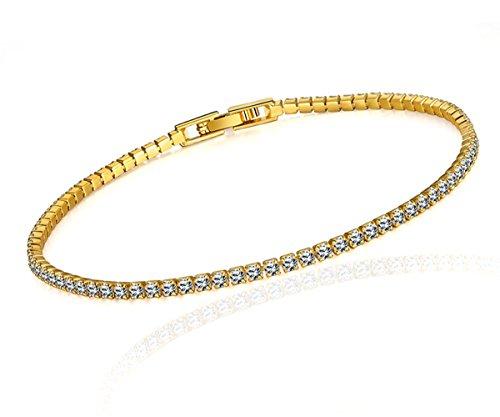 Borong Bracciale Tennis Donna Zirconia Cubica per Il Regalo Gioielli con Placcato Oro Giallo