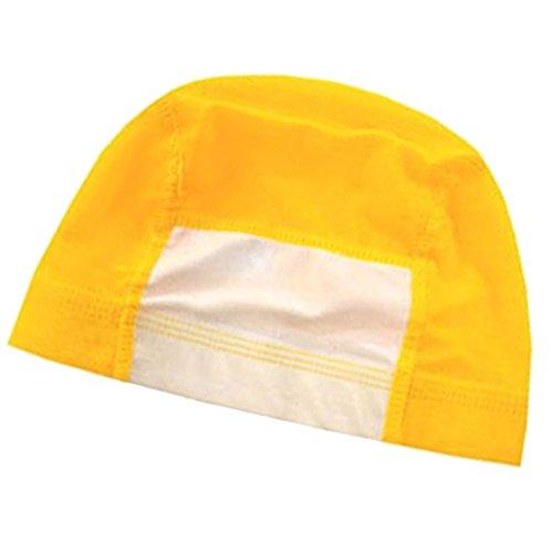 水泳帽子 プール帽子 名前の書ける プールキャップ 子供用~大人用(イエローS)