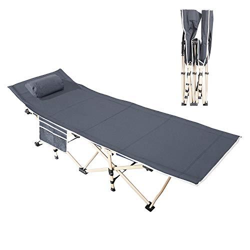 DlandHome Gästebett Campingbett Tragbares Faltbares Bett im Freien mit gepolstertem Kissen und Seitentasche, leichtes Schlafsofa, 190CM*67CM*34CM