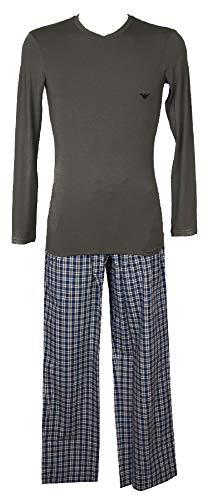 Emporio Armani Pigiama Uomo Scollo V Manica Lunga Modal Pantalone Lungo Cotone Articolo 111359 2A711+111050 2A576, 05342 Smoke 2, M