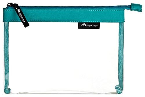 Alpamayo® transparente Kulturtasche für Flüssigkeiten im Handgepäck Koffer oder Trolley, durchsichtiger Kosmetikbeutel, ideal als Flugbeutel, 1l Volumen, türkis