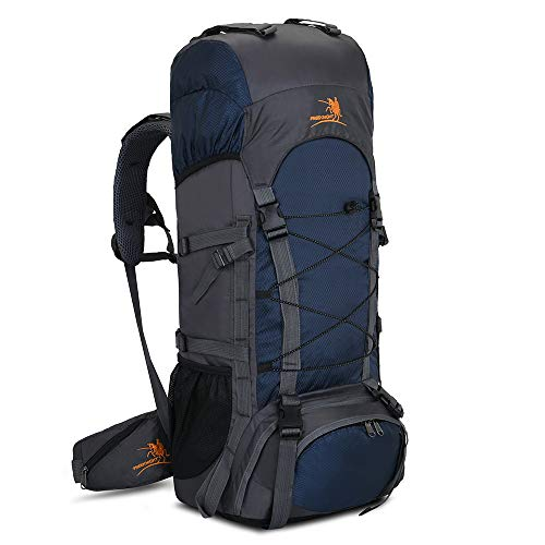 60L Internal Frame Hiking Backpack with Rain Cover,Outdoor Sport Travel Daypack for Climbing Camping Touring (Navy Blue)