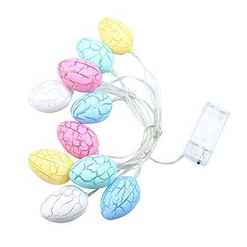 Mclochy 10 LED Lights 4.9 ft Easter Eggs Lights Battery Powered Fairy String Lights Christmas Holiday Party Home Decoration (Colorful)