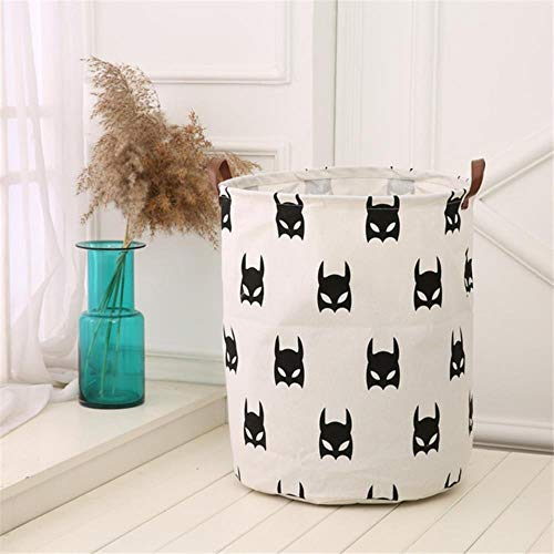 QWK Beige Large Storage Bag Canvas Laundry Bags Basket Toy Clothes Organizer Play Mat Home Decor,F