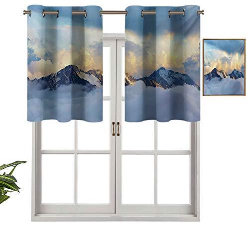 Hiiiman Cortinas opacas con aislamiento térmico para decoración del hogar, diseño de paisaje alpino con picos cubiertos por nubes de nieve, juego de 2, 137 x 60 cm para ventana del sótano