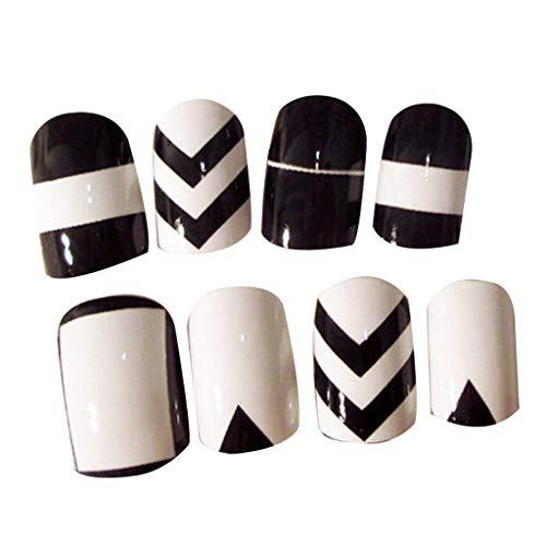Lergo_FR 24pcs / Set Beauté Blanc Noir Faux Ongles Acrylique Conseils Complets Nail Stickers Tool