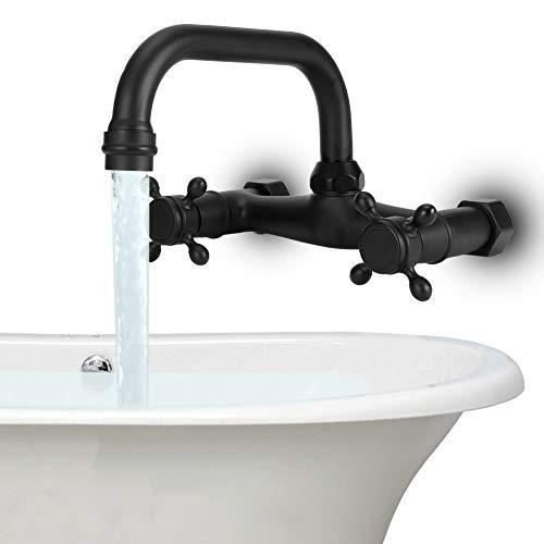 DSJSP Grifo de baño montado en la pared de cobre Manijas duales Bañera Mezclador de agua fría caliente Tipo TapA Cinco vías (negro)