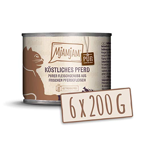 MjAMjAM - Pienso acuoso para Gatos - Delicioso Caballo Puro - Sin Cereales - 6 x 200 g