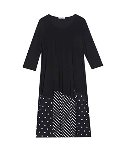 Elena Mirò : Vestido de Rayas y Lunares Negro 41 (Italian Size)
