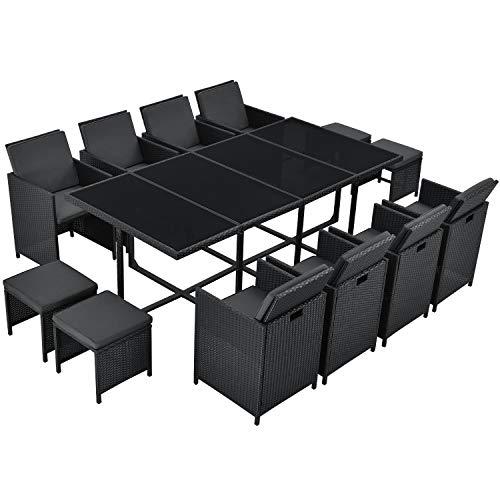 Juskys Polyrattan Sitzgruppe Baracoa XXL 13-teilig wetterfest & stapelbar – Gartenmöbel Set mit 8 Stühle, 4 Hocker & Tisch für Garten & Terrasse