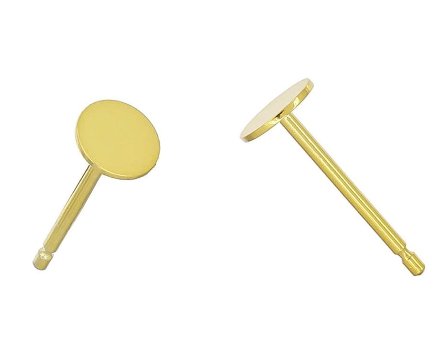 10 Pairs 14k Gold on Sterling Silver Earring Posts | 4mm Small Flat Board Glue On Post Setting W/Earnut Safety Clutches Backs SS277-4