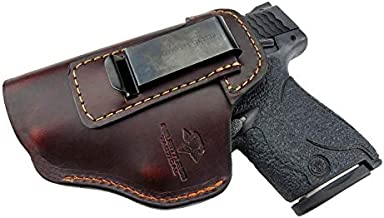 Relentless Tactical The Defender Leather IWB Holster - Made in USA - for S&W M&P Shield - Glock 17 19 22 23 32 33 / Springfield XD & XDS/Plus All Similar Sized Handguns – Brown – Right Handed