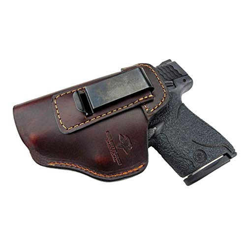 Relentless Tactical The Defender Leather IWB Holster - Made in USA - for S&W M&P Shield - Glock 17 19 22 23 32 33 44 / Springfield XD & XDS/Plus All Similar Sized Handguns – Brown – Left Handed