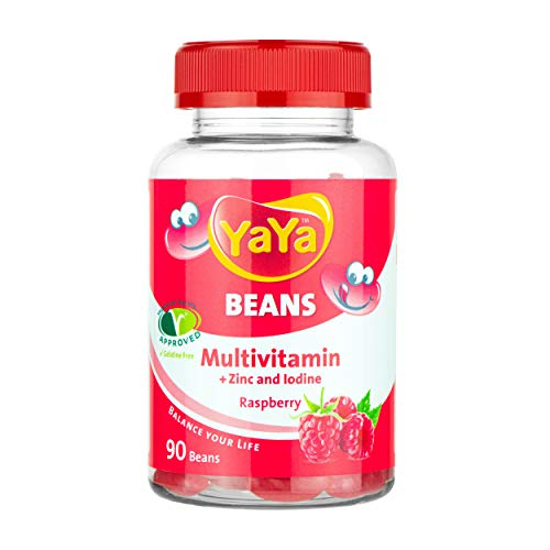 YaYa BEANS MULTIVITAMIN Raspberry + ZINC and Iodine Gelatine Free Vegetarian Society Approved, Awesome Power Packs for Children and Adults