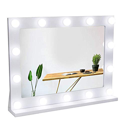 Waneway Espejo Estilo Hollywood para tocador, Espejo de vanidad Grande con Luces, Espejo de Maquillaje Iluminado con 14 Bombillas LED Regulables, en Mesa o montado, Blanco