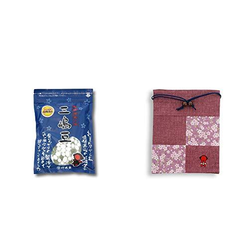 [2点セット] 飛騨 打保屋 駄菓子 三嶋豆(150g)・おねがいさるぼぼ 巾着【エンジ】