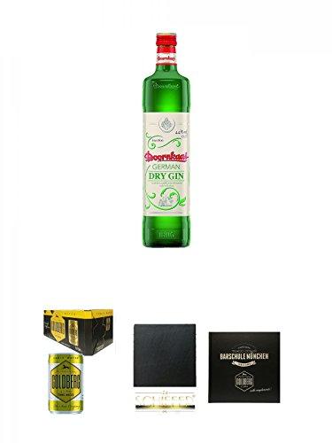 Doornkaat German Dry Gin 0,7 Liter + Goldberg Tonic Water DOSE 8 x 0,15 Liter Karton + Schiefer Glasuntersetzer eckig ca. 9,5 cm Durchmesser + Barschule München Buch