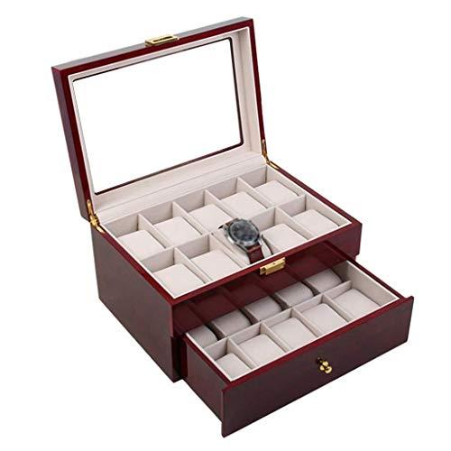 SHANCL De la Caja de Reloj de los Hombres de Las Mujeres de Madera Caja de exhibición del Reloj Caja de empaquetado de Cristal del Techo Solar Reloj Caja de Almacenamiento