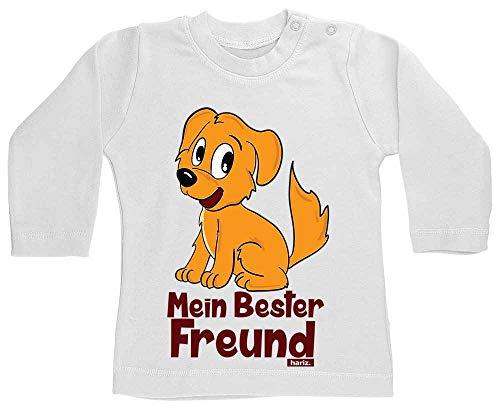 Hariz T-shirt à manches longues pour bébé Mon meilleur ami chien Animaux Zoo Plus Cartes cadeau Blanc dent de lait 3-6 mois
