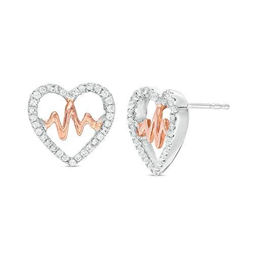 2Hearts 1/2 CT. T.W. D / VVS1 Pendientes de botón con forma de corazón de diamantes transparentes para mujer en plata de ley 925 y chapado en oro rosa de 10K