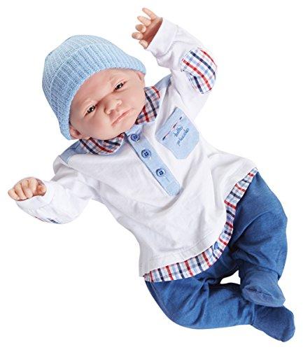 Soft body Doll. Dressed in a precious Tutto Piccolo® designed blue/white denim outfit