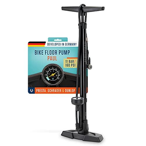 Alphatrail Pompa di pavimento Paul - Per tutte le valvole 11 Bar / 160 PSI pressione massima I manometro grande (Ø48mm) I Incl. adattatore I pompa bicicletta per la valvola presta, schrader & dv