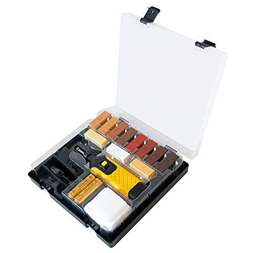 Hengda Laminat Reparaturset Holzboden Parkett Wachs, 11 unterschiedliche Farbtöne Inkl. Wachsschmelzer Hobel Schleifschwamm Spatel ReparaturKit für Holzboden Türen Fenster Geländer Möbel Treppen