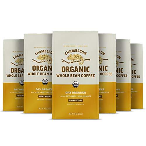 Chameleon Organic Whole Bean Coffee, Light Roast Day Breaker, 100% Arabica, Milk Chocolate and Cherry, 9 Oz, Pack of 6