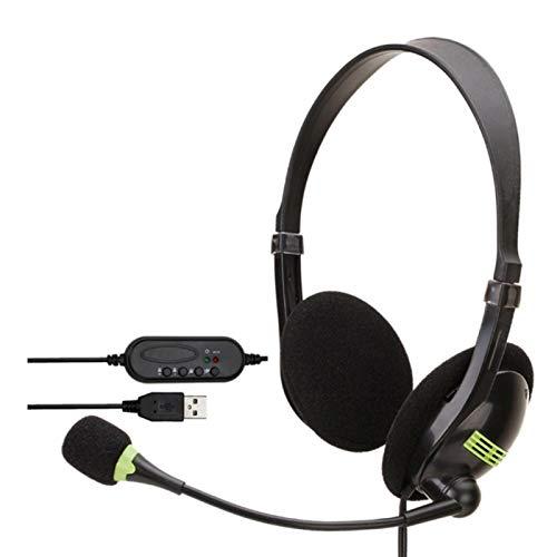 Auriculares de PC con cable y auriculares de 3,5 mm con micrófono con cancelación de ruido, micrófono omnidireccional para teléfono celular, puerto USB