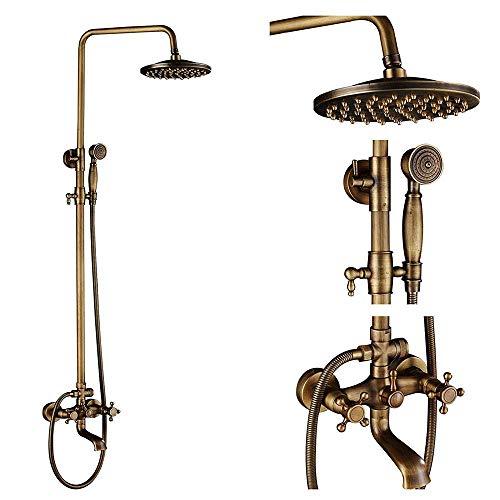 HYZXK Sistema de Ducha Redondo Juego de grifos de Ducha de latón Antiguo Juego Combinado de Ducha de Lluvia Multifuncional para baño montado en la Pared con Ducha de Mano, Cabezal de duc