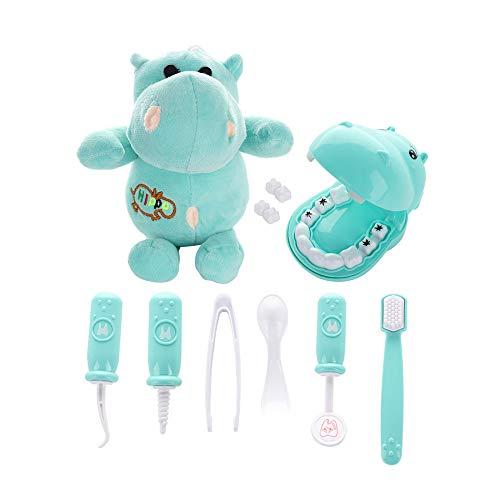 Juego de 9 piezas de Doctor Play Kit, juego de dentistas de plástico, juego de juguetes médicos de simulación con hipopótamo de peluche para niños small verde