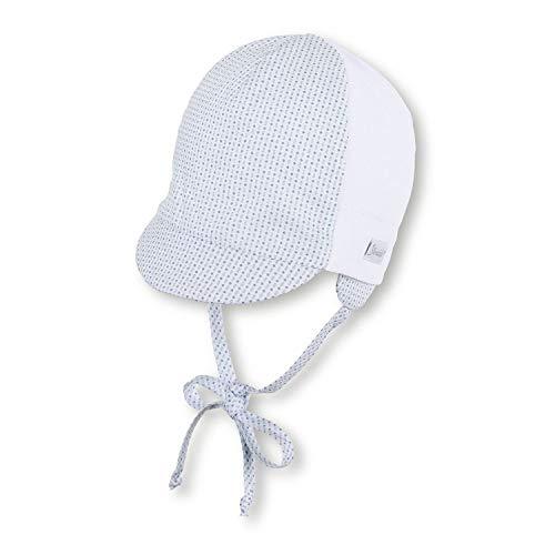 """Sterntaler - Baby Jungen Schirmmütze zum Binden Sonnenhut mit LSF UV-Schutz 50+ und Ohrenschutz """"Gemustert"""", weiß – 1602005, Größe 47"""
