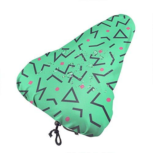 Like-like Grünes Dreieck Rosa Punkt Wasserdichter Fahrradsitz-Regenschutz mit Kordelzug, Regen- und Staubschutz