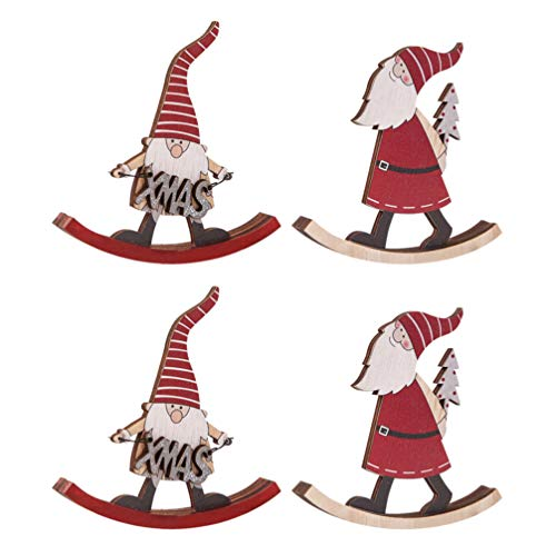 NUOBESTY 4Pcs Weihnachten Santa Claus mit Schlitten Tischdekoration Schwedische Santa Gnomes Tischdekoration Ornamentdekoration