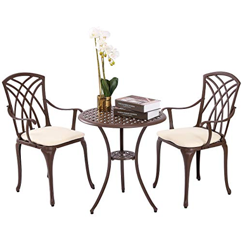 Kinger Home 3 Piece Patio Bistro Table Set Outdoor Furniture Cast Aluminum Bistro Set Table with Cushions - Weatherproof with Timeless Design (Brown)