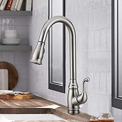 Antique Kitchen Faucet with Deck Plate,?cUPC Certificated?Brushed Nickel Bar Sink Faucet with Sprayer, Lead-free Single Handle Stainless Steel KOPAIS Faucet with Escutcheon