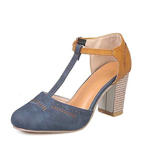 JXJ Sandalias de tacón alto para mujer, zapatos de tacón redondo, hebilla para mujer, tacones gruesos, verano, tacones altos para fiesta de boda