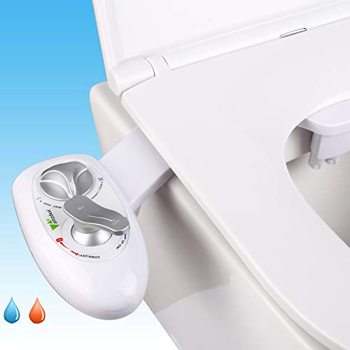 amzdeal Hot & Cold Fresh Water Bidet Dual Self Cleaning Nozzles(Posterior/Feminine Wash) Bidet Attachment for Toilet Changeable Water Pressure Non-electric Spray Bidet Easy Installation Updated